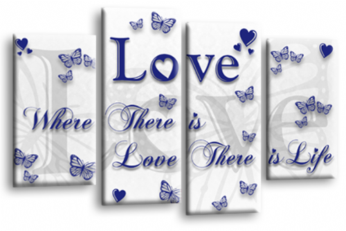 Love Quote Wall Art Print White Blue Family Picture